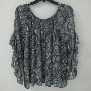 Jeans by Buffalo Flowy Paislely Top Bouse Ruffled